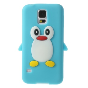 Adorable Penguin Soft Silicone Cover Case for Samsung Galaxy S5 G900 GS 5 - Baby Blue