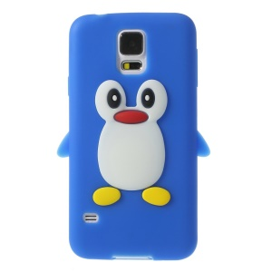 Adorable Penguin Soft Silicone Skin Cover for Samsung Galaxy S5 G900 GS 5 - Dark Blue