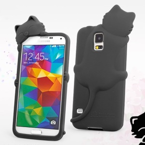 Hello Deere Diffie Cat for Samsung Galaxy SV GS 5 G900 Silicone Phone Cover - Black