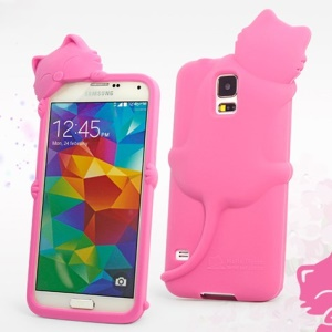Hello Deere Diffie Cat for Samsung Galaxy SV GS 5 G900I Soft Silicone Shell - Deep Pink