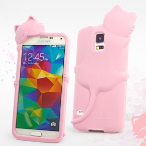 Hello Deere Diffie Cat for Samsung Galaxy SV GS 5 G900K Silicone Back Shell - Pink