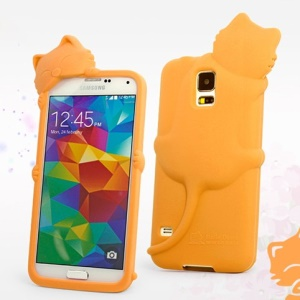 Hello Deere Diffie Cat Silicone Case Shell for Samsung Galaxy SV GS 5 G900J - Orange