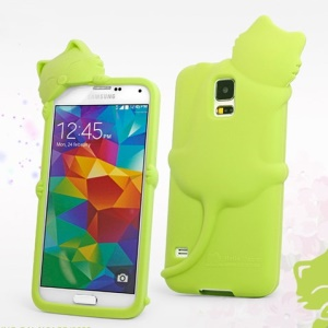 Hello Deere Diffie Cat Silicone Shell Cover for Samsung Galaxy SV GS 5 G900M - Green