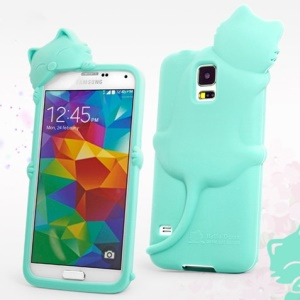 Hello Deere Diffie Cat Silicone Shell Cover for Samsung Galaxy SV GS 5 G900 - Tiffany
