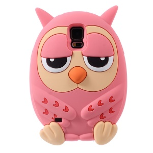 Lovely Owl Shape Candy Smell Silicone Shell for Samsung Galaxy S5 G900 GS 5 - Pink
