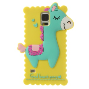 Yellow for Samsung Galaxy S5 G900 3D God Beast Pony Silicone Case