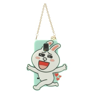 For Samsung Galaxy S5 G900 Cony Rabbit Silicon Cover with Chain - Cyan