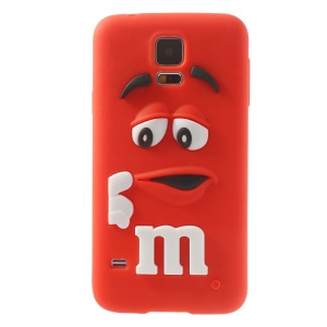 PIZU for Samsung Galaxy S5 G900 Laughing M&M Bean Candy Smell Silicone Cover - Red