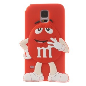 Happy M&Ms Chocolate Rainbow Bean Silicone Back Shell for Samsung Galaxy S5 G900 - Red