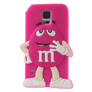 Happy M&Ms Chocolate Rainbow Bean Silicone Back Shell for Samsung Galaxy S5 G900 - Rose
