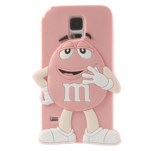 Happy M&Ms Chocolate Rainbow Bean Silicone Back Case for Samsung Galaxy S5 G900 - Pink