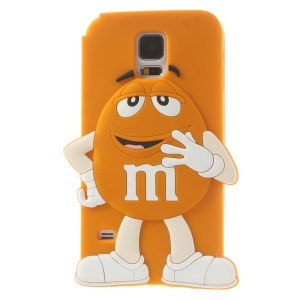 Happy M&Ms Chocolate Rainbow Bean Silicone Back Case for Samsung Galaxy S5 G900 - Orange