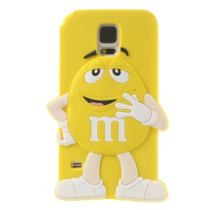 Happy M&Ms Chocolate Rainbow Bean Soft Silicone Case for Samsung Galaxy S5 G900 - Yellow