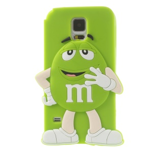 Happy M&Ms Chocolate Rainbow Bean Soft Silicone Case for Samsung Galaxy S5 G900 - Green