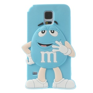 Happy M&Ms Chocolate Rainbow Bean for Samsung Galaxy S5 G900 Soft Silicone Shell - Blue