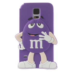 Happy M&Ms Chocolate Rainbow Bean for Samsung Galaxy S5 G900 Soft Silicone Shell - Purple