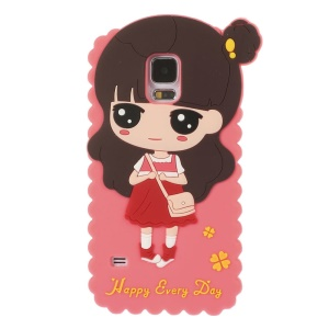 Cartoon Girl Xiaoxi Silicone Case for Samsung Galaxy S5 G900 GS 5 - Watermelon Red
