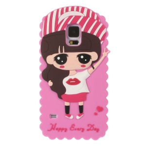 Cartoon Girl Xiaoxi Soft Silicone Case for Samsung Galaxy S5 G900 GS 5 - Rose
