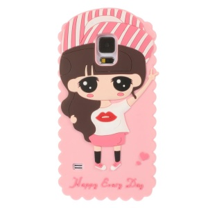 Cartoon Girl Xiaoxi Soft Silicone Cover for Samsung Galaxy S5 G900 GS 5 - Pink