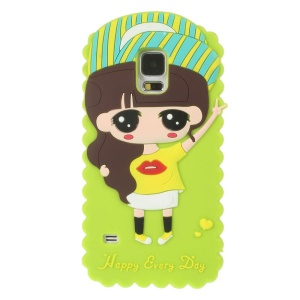 Cartoon Girl Xiaoxi Soft Silicone Shell for Samsung Galaxy S5 G900 GS 5 - Green