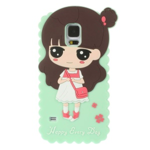 Cartoon Girl Xiaoxi for Samsung Galaxy S5 G900 GS 5 Silicone Shell Cover - Mint
