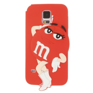 Ms.Green M&Ms Rainbow Chocolate Bean for Samsung Galaxy SV G900 Soft Silicone Shell - Red