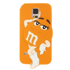 For Samsung Galaxy SV G900 Ms.Green M&Ms Rainbow Chocolate Bean Silicone Cover - Orange