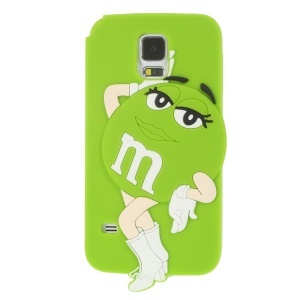 For Samsung Galaxy SV G900 Ms.Green M&Ms Rainbow Chocolate Bean Silicone Cover - Green