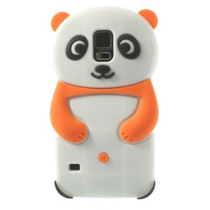 3D Cute Panda Silicone Back Case for Samsung Galaxy S5 G900 G900I - Orange