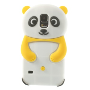 3D Cute Panda Silicone Gel Case for Samsung Galaxy S5 G900 G900M - Yellow