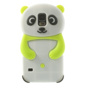3D Cute Panda Flex Silicone Cover for Samsung Galaxy S5 G900 G900A - Green