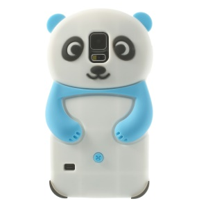 3D Cute Panda Soft Silicon Case for Samsung Galaxy S5 G900 G900T - Light Blue