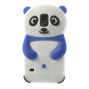 3D Cute Panda Silicon Back Shell for Samsung Galaxy S5 G900 G900V - Dark Blue