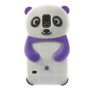3D Cute Panda Gel Silicone Case for Samsung Galaxy S5 G900 G900R4 - Purple