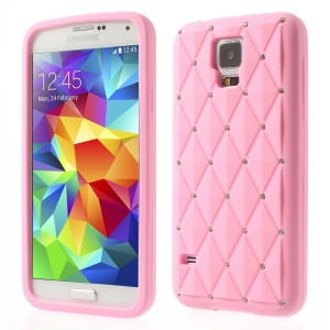 Pink for Samsung Galaxy S 5 G900 Starry Sky Rhinestone Silicone Cover