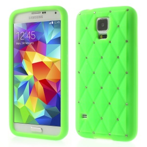 Green for Samsung Galaxy S 5 G900 Starry Sky Rhinestone Silicone Cover