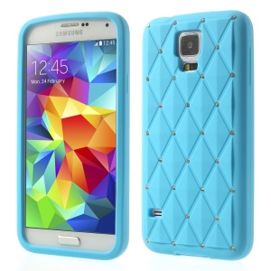 Blue for Samsung Galaxy S 5 G900 Starry Sky Rhinestone Silicone Skin Shell