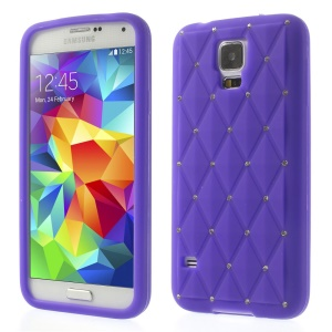 Purple for Samsung Galaxy S 5 G900 Starry Sky Rhinestone Silicone Skin Shell
