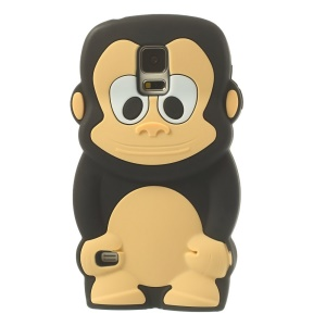 Adorable Monkey Silicone Case for Samsung Galaxy S5 G900 - Black