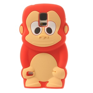 Adorable Monkey Silicone Skin Case for Samsung Galaxy S5 G900 - Red
