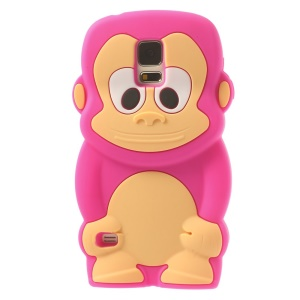 Adorable Monkey Silicone Shell Case for Samsung Galaxy S5 G900 - Rose
