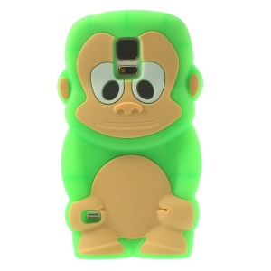 Adorable Monkey Silicone Shell for Samsung Galaxy S5 G900 - Green