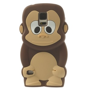 Adorable Monkey Silicone Cover Case for Samsung Galaxy S5 G900 - Coffee