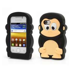 Black Cute 3D Monkey Shaped Soft Silicone Jelly Case for Samsung Galaxy Y S5360