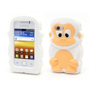 White Cute 3D Monkey Silicone Case for Samsung Galaxy Y S5360