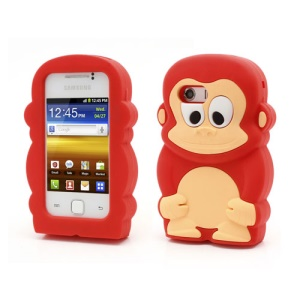 Red Cute 3D Monkey Silicone Cover for Samsung Galaxy Y S5360