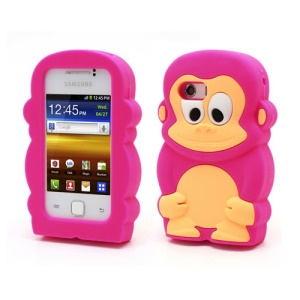 Rose Lovely 3D Monkey Silicone Shell for Samsung Galaxy Y S5360