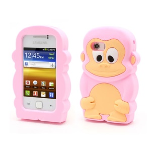 Pink Lovely 3D Monkey Jelly Silicone Case for Samsung Galaxy Y S5360