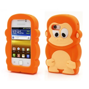 Orange Lovely 3D Monkey Protective Silicone Case for Samsung Galaxy Y S5360