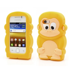 Yellow Lovely 3D Monkey Shock Absorbent Silicone Case for Samsung Galaxy Y S5360